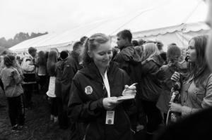 Journalist på leir. Foto: Arild Johannessen